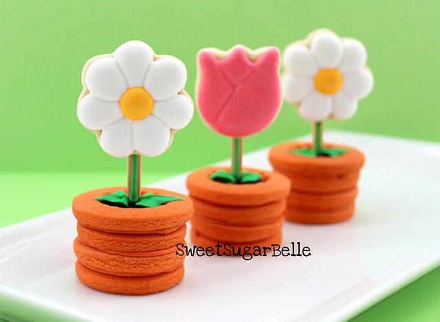 Sweet Sugar Belle & Flowers in Pots Cookies - The Sweet Adventures of Sugar Belle