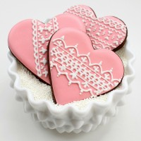 Lacy Pink Valentine Cookies