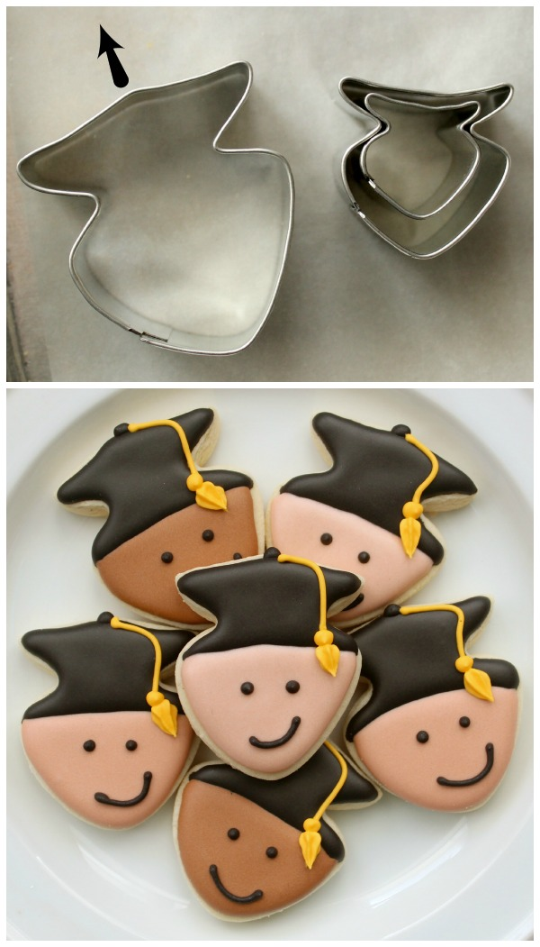 Mini Graduation Face Cookies