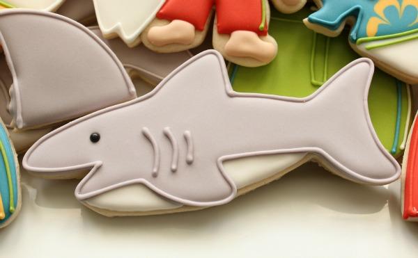shark attack summer cookies Shark bitten surfboard cookie cutter