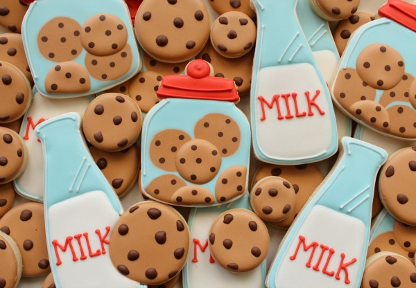 Cookies and Milk Cookies Close-Up