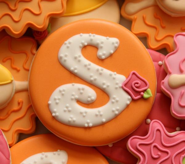 Floral Monogram Cookies