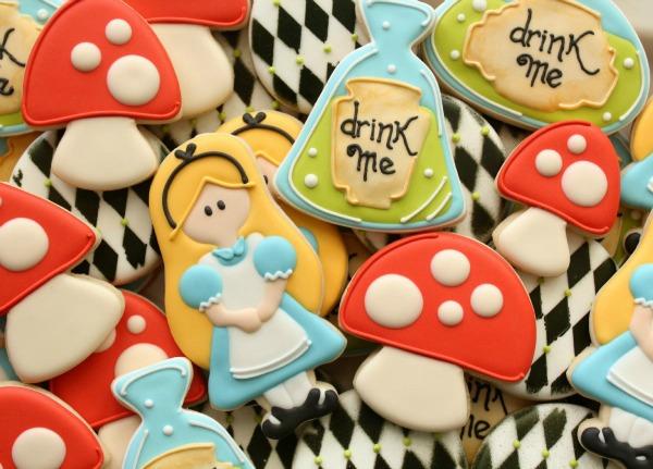 Graphic Alice in Wonderland Cookies Close-Up