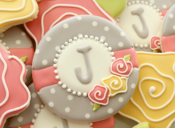 Floral Monogram Cookies Close Up
