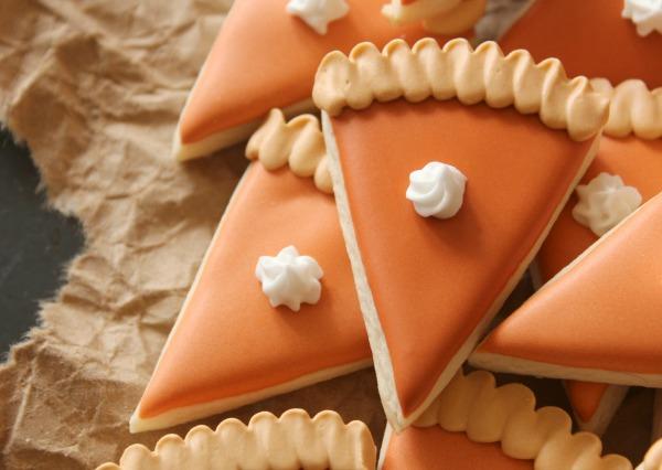 Mini Pumpkin Pie Slice Cookies Close Up