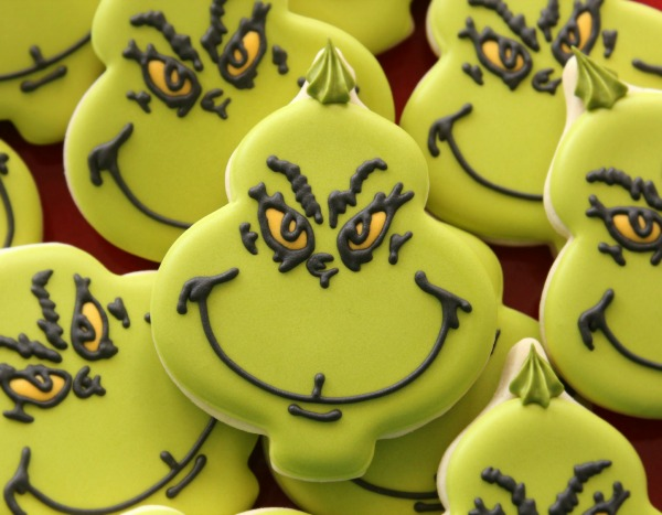 Decorated Grinch Cookies