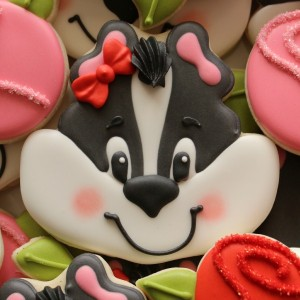 Decorated Skunk Face Cookies