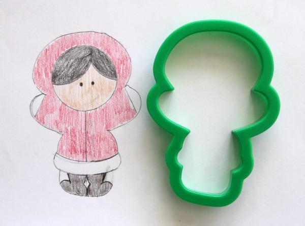 Winter Girl Cookie Sketch