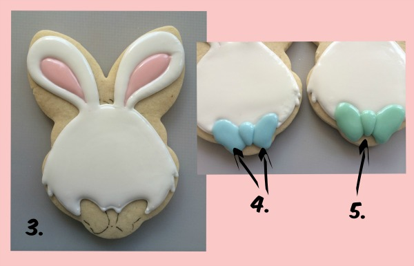 Decorated Easter Bunny with Bowtie Cookie