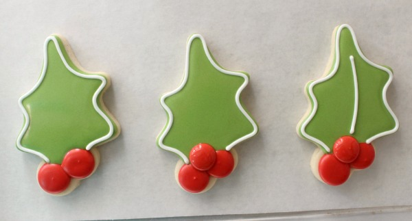 Decorated Holly Cookies