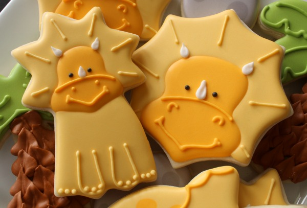 Decorated Triceratops Cookies