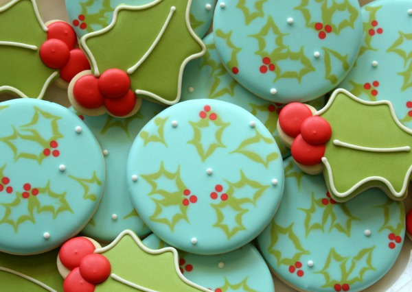 Easy Decorated Holly Cookies The Sweet Adventures Of Sugar Belle