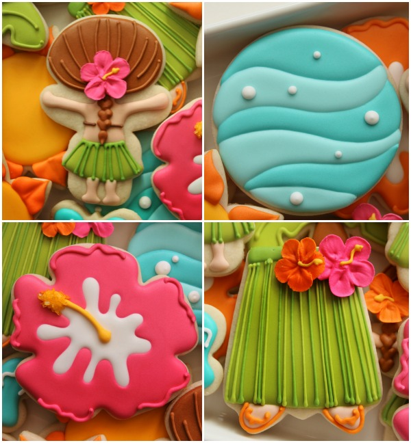 Decorated Hawaiian Luau Cookies