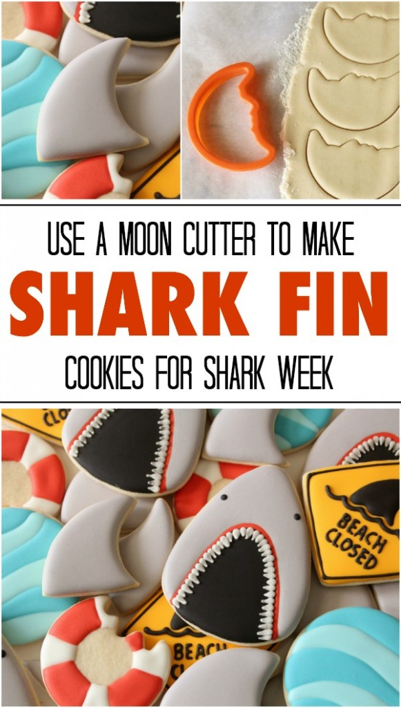 Need a simple cookie idea for Shark Week  Use a moon cutter to make shark fin cookies in two easy steps via Sweetsugarbelle.com
