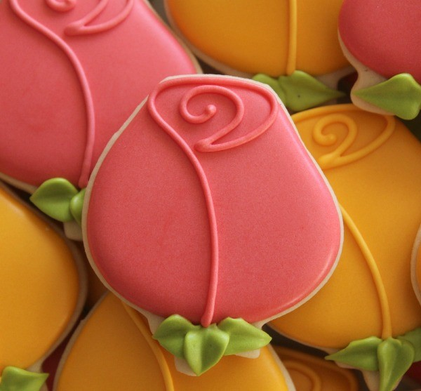 Decorated Rose Cookie Close-Up