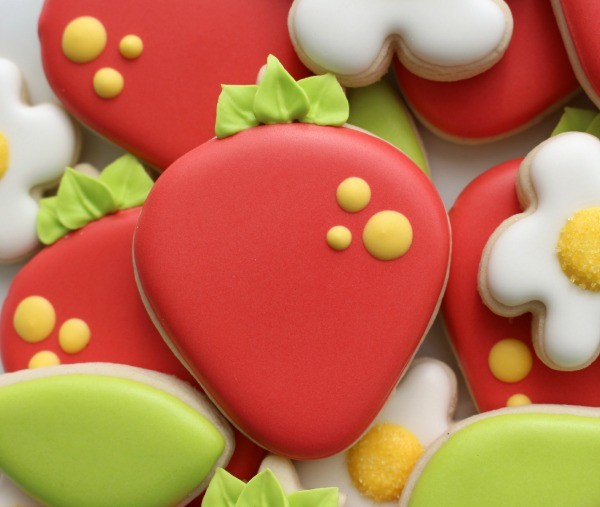 Decorated Strawberry Cookies