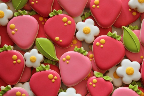 Deep Pink Decorated Strawberry Cookies