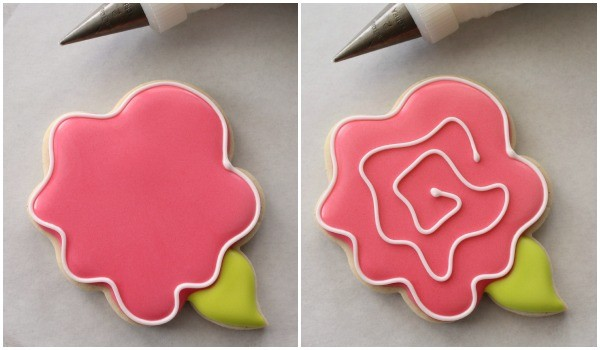Easy Decorated Rose Cookies