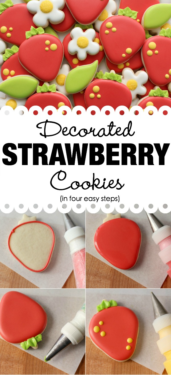 Make beautiful decorated strawberry cookies in four easy steps!