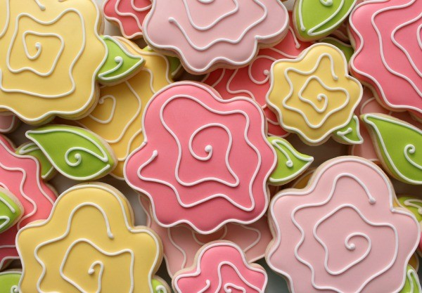 Whimsical Pink Rose Cookies HR3