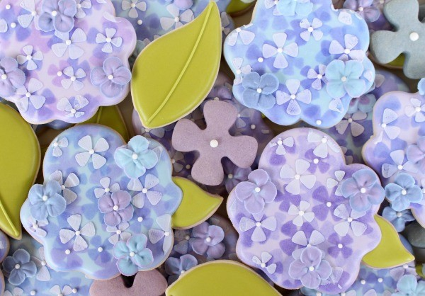 Airbrushed Hydrangea Cookies for Spring