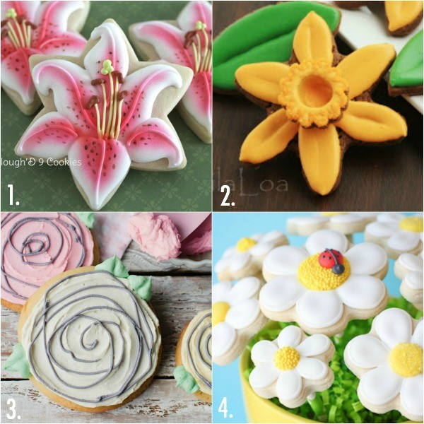 Decorated flower cookies for Mother's Day
