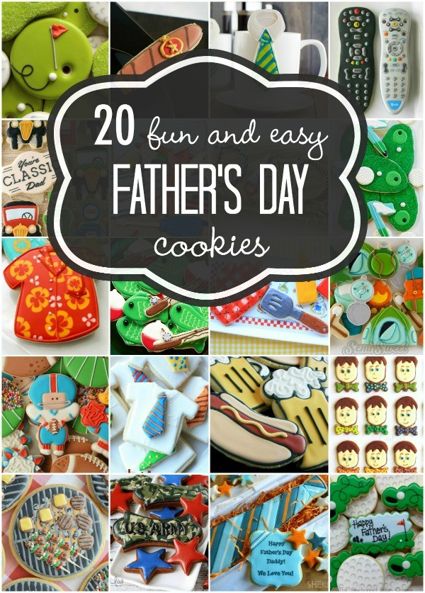 20 Fun and Simple Decorated Cookies for Father's Day via www.sweetsugarbelle.com