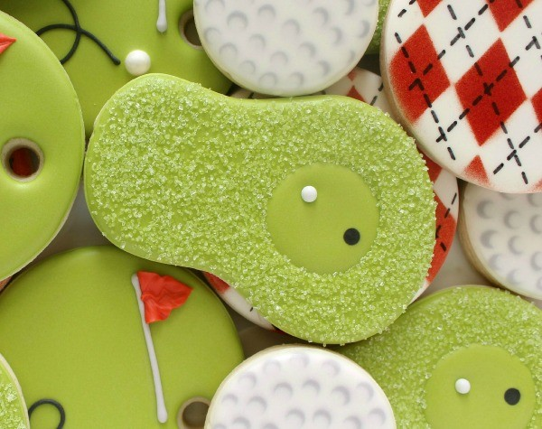 Simple Golf Fairway Cookies Green Cookies via sweetsugarbelle.com