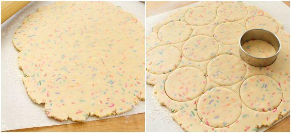 Rainbow funfetti cutout cookies. Great for kids via Sweetsugarbelle.com
