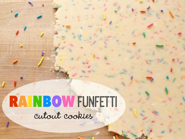 Rainbow rainbow funfetti cutout cookie recipe via Sweetsugarbelle.com