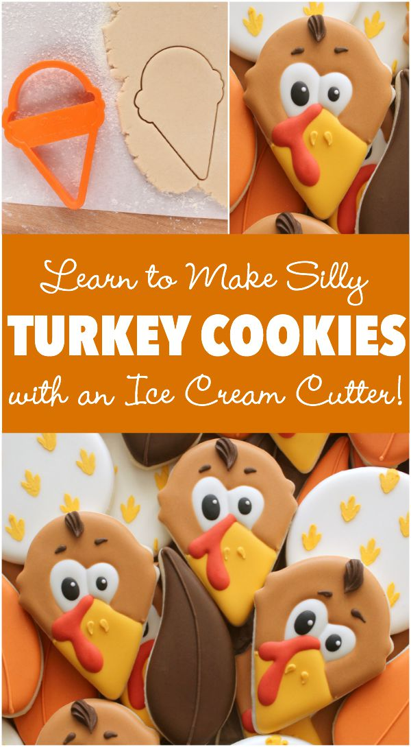 How to make cute Thanksgiving Turkey cookies with a simple ice cream cone cutter via Sweetsugarbelle.com