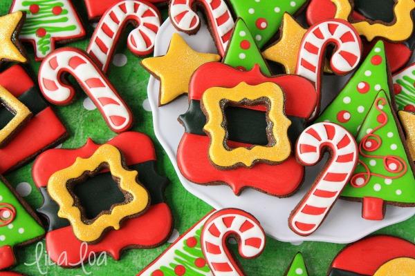 Christmas Santa belt buckle cookies featuring Lila Loa Cookies via Sweetsugarbelle.com