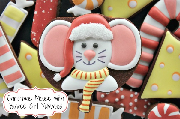 How to Decorate Sweet Little Christmas Mouse Cookies with Yankee Girl Yummies, Featured on Sweetsugarbelle.com