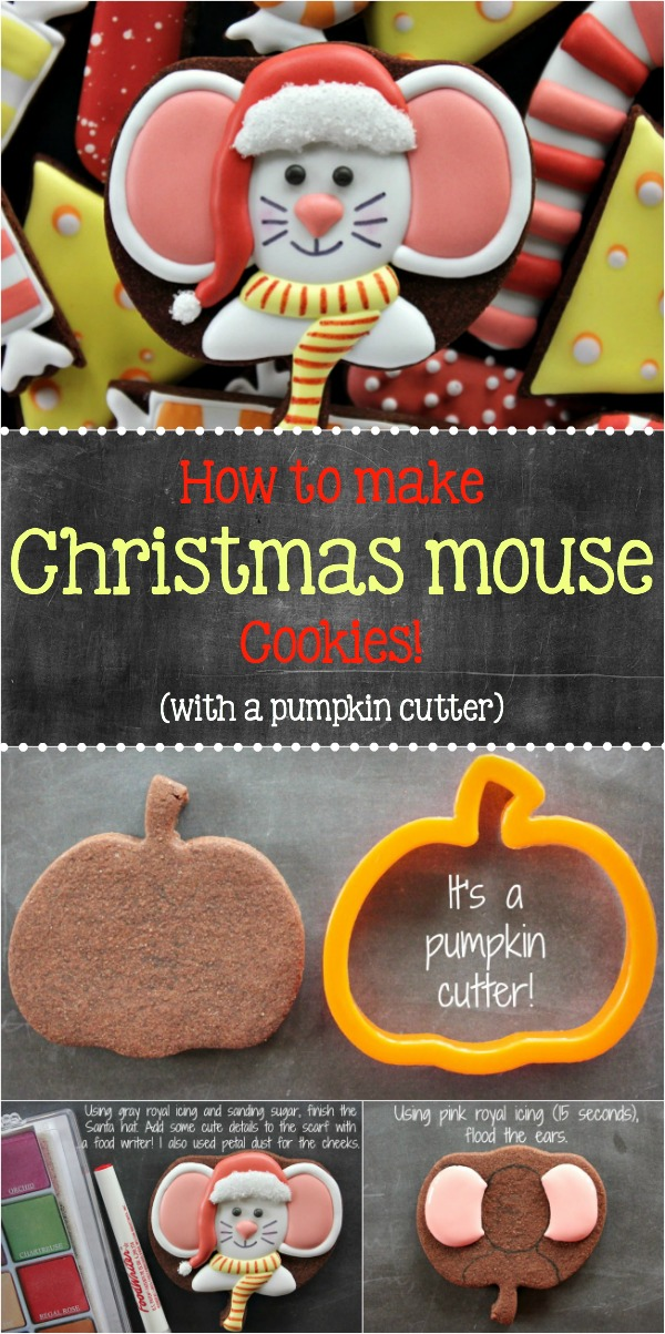 How to Make Christmas Mouse Cookies with a Pumpkin Cutter, featuring Yankee Girl Yummies via Sweetsugarbelle.com