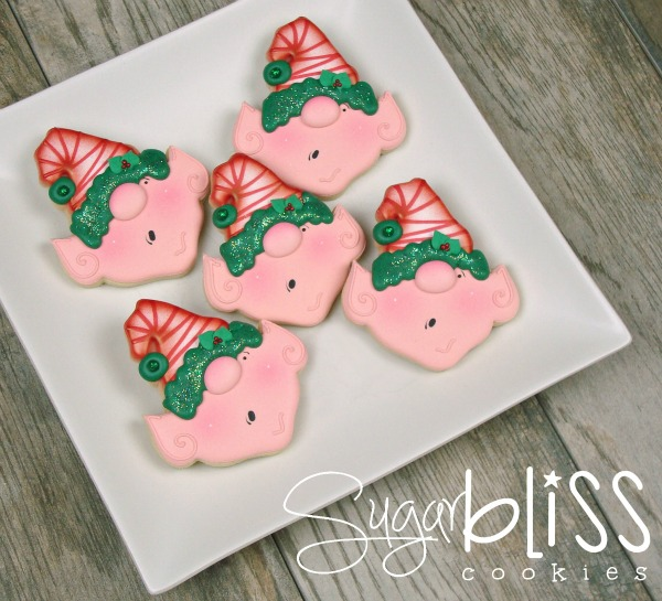 How to make elf cookies with SugarBliss Cookies via Sweetsugarbelle.com