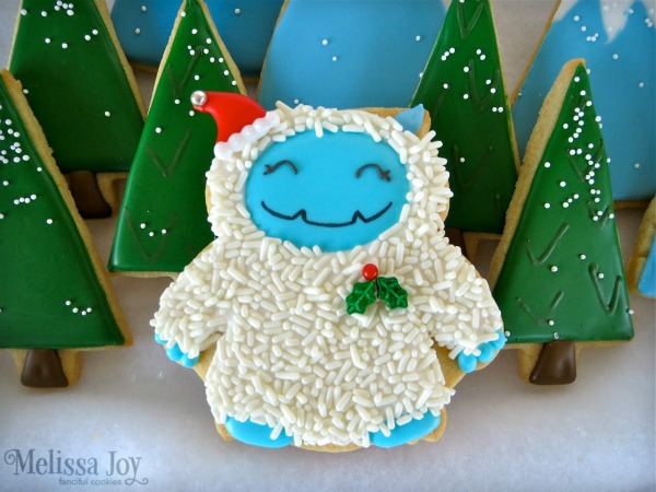 Precious decorated Yeti Cookies by Melissa Joy via Sweetsugarbelle blog