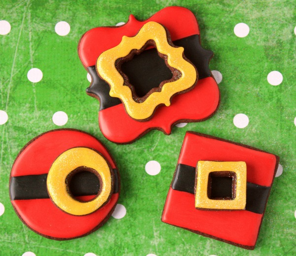 Santa belt buckle cookies featuring Lila Loa Cookies via Sweetsugarbelle.com