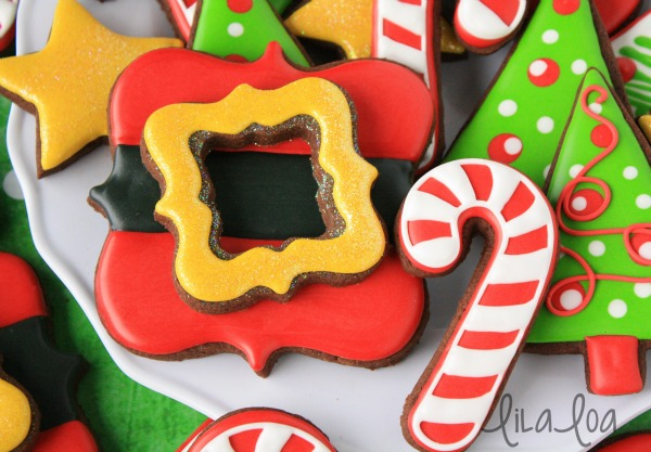 Santa's Belt Buckle Cookies with Lila Loa via Sweetsugarbelle blog