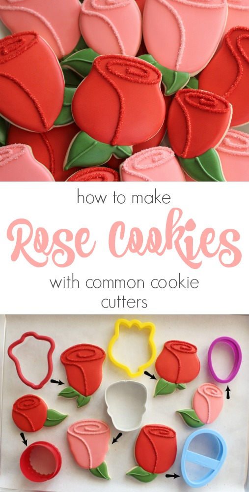 How to make rose cookies with cutters you probably already own! Pictured bell, tulip, egg, skull, and circle.